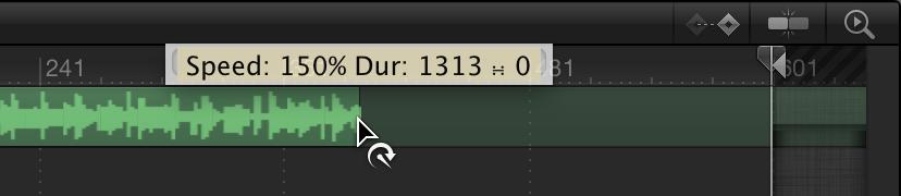 Timeline mit Audiospur, die mithilfe des Zeitverhalten-Zeigers verkürzt wird.