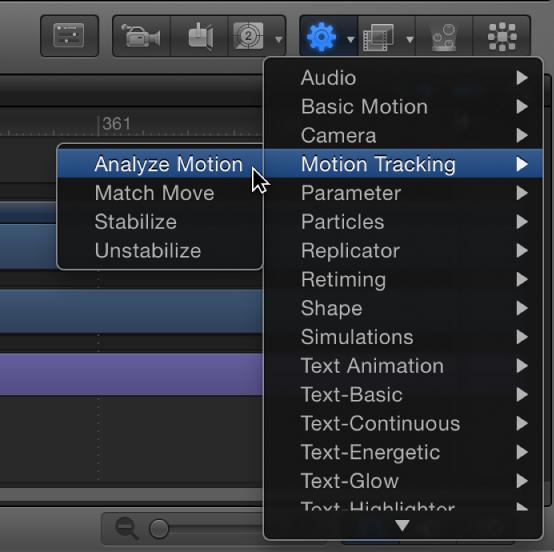 """Symbolleiste mit Einblendmenü """"Verhalten hinzufügen"""" und Verhaltensuntermenü """"Motion Tracking""""."""