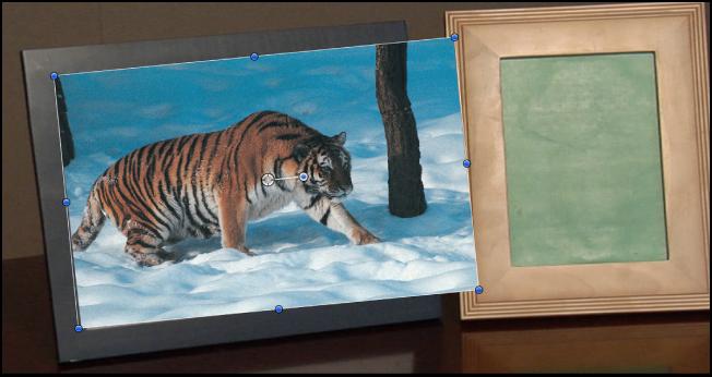 Canvas mit einem verfolgten Objekt, das nicht in das Bild passt.
