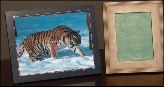 Canvas mit einem verfolgten Objekt mit angewendeter Maske.