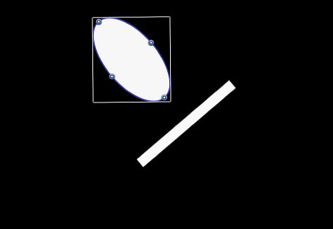 """Canvas mit denselben beiden Objekten mit aktiviertem Feld """"Tangenten ausrichten""""."""
