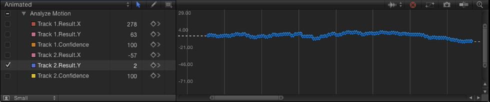Keyframe-Editor mit Optionen des Animationsmenüs und einer Kurve mit einem Keyframe an jedem Bild.