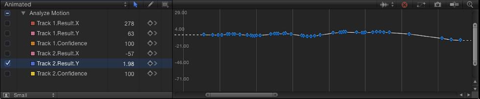 Keyframe-Editor mit einer Kurve mit reduzierten Keyframes.