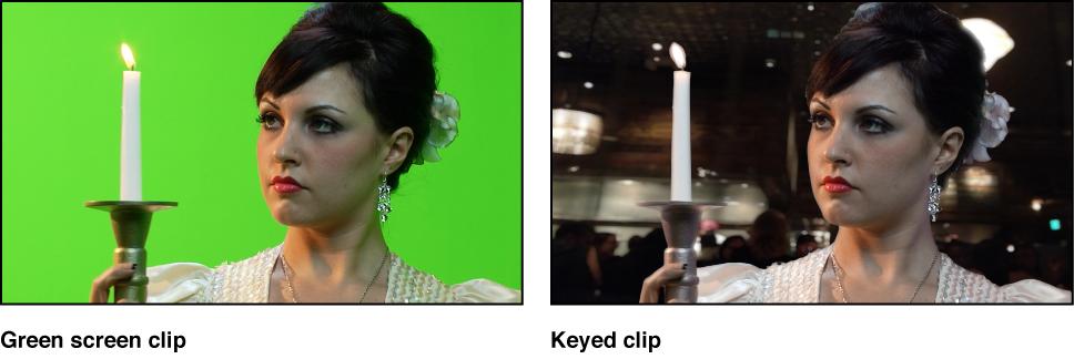 Vergleich eines Greenscreen-Clips und demselben Clip mit angewendetem Keying für den Hintergrund.