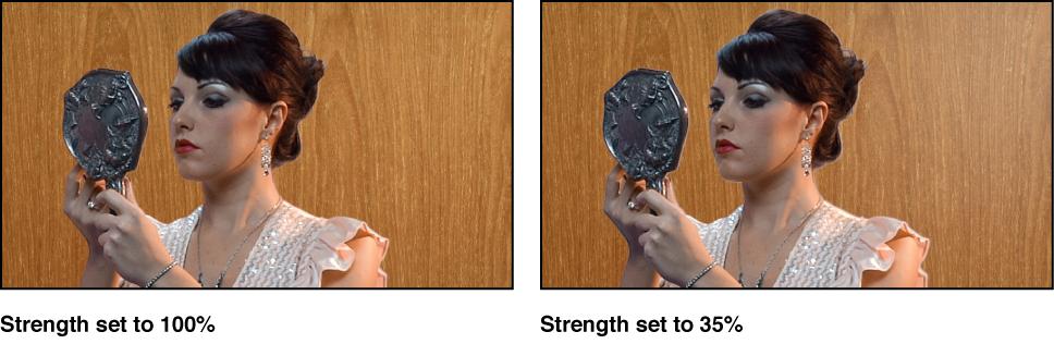 """Vergleich zweier ausgestanzter Bilder im Canvas. Im ersten Beispiel ist der Parameter """"Stärke"""" auf 100 Prozent eingestellt. Im zweiten Beispiel ist der Parameter """"Stärke"""" auf 35 Prozent eingestellt."""