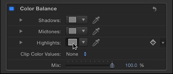 """Im Filter """"Farbbalance"""" wird auf das Farbfeld """"Lichter"""" geklickt"""
