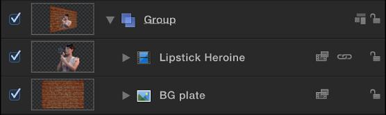 """Ein Greenscreen-Clip als Vordergrund und eine Hintergrundebene in der Liste """"Ebenen"""""""