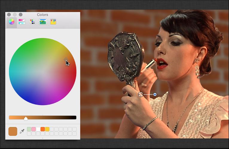 """Verwendung des Farbrads im Fenster """"Farben"""" zum Anpassen der Farbe des Vordergrundbilds."""