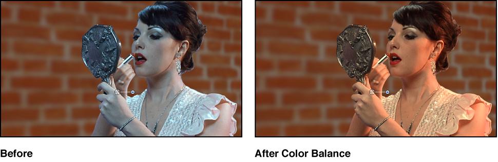 Die Greenscreen-Komposition vor und nach der Farbkorrektur am Vordergrundbild