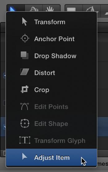 """Auswählen des Werkzeugs """"Objekt anpassen"""" aus dem Einblendmenü für die 2D-Transformationswerkzeuge."""