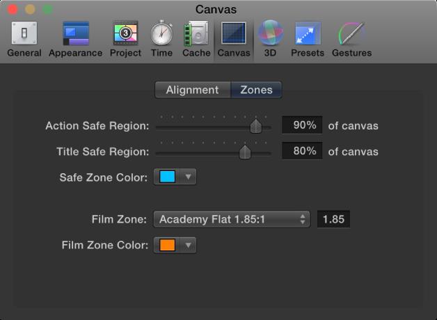 """Fenster mit den Motion-Einstellungen mit eingeblendetem Bereich """"Canvas"""" und der Kategorie """"Zonen""""."""