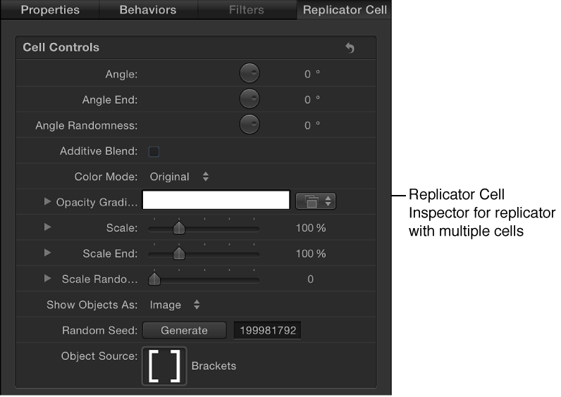 """Informationsfenster """"Replikatorzelle"""" mit zellenspezifischen Parametern."""