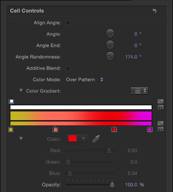 """Informationsfenster """"Replikator"""", in dem für """"Farbmodus"""" die Option """"Über das Muster"""" eingestellt ist."""