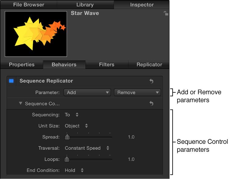 """Informationsfenster mit den Parametern für das Verhalten """"Sequenz-Replikator""""."""