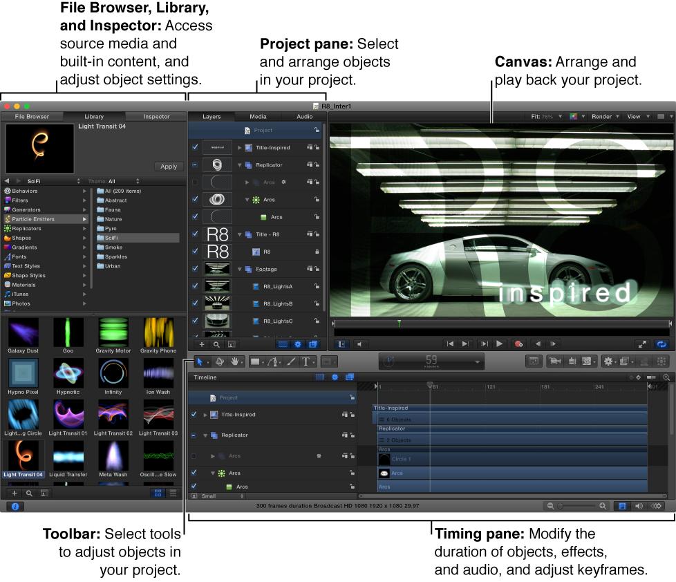 """Die Benutzeroberfläche von Motion mit der Dateiübersicht, der Mediathek sowie dem Informationsfenster, dem Bereich """"Projekt"""", dem Canvas, dem Bereich """"Zeitverhalten"""" und der Symbolleiste."""