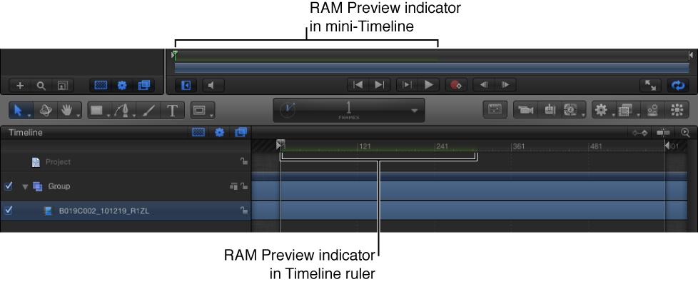 Mini-Timeline und Timeline mit Anzeigeelementen für die RAM-Vorschau