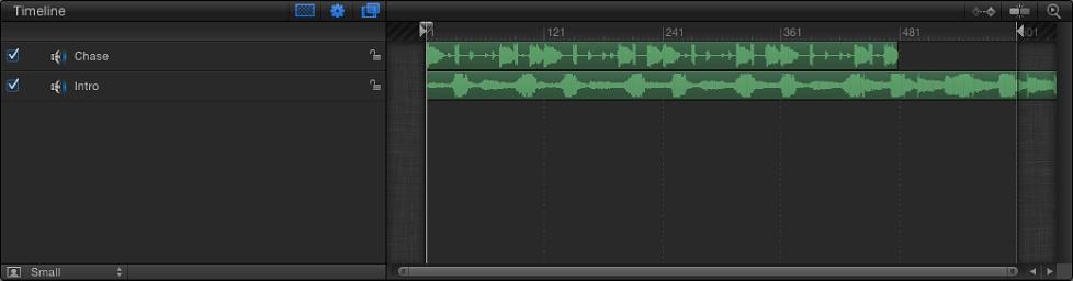"""Bereich """"Zeitverhalten"""" mit dem Audio-Editor."""