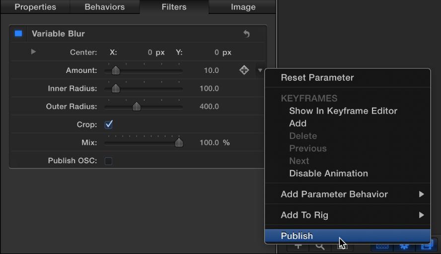 """Auswählen von """"Veröffentlichen"""" aus dem Animationsmenü für den Parameter """"Scheren"""""""