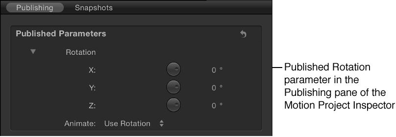 """Veröffentlichter Parameter """"Rotation"""" im Bereich """"Veröffentlichen"""" des Informationsfensters """"Projekt"""""""