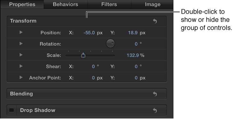 Informationsfenster mit einer geöffneten Gruppe von Parametern und einer geschlossenen Gruppe von Parametern.