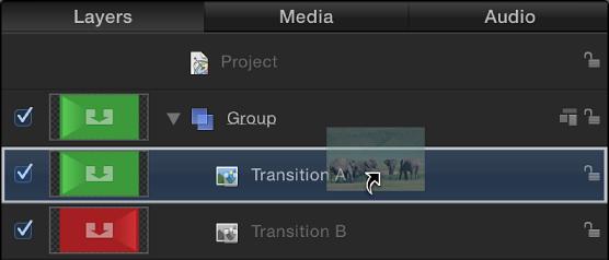 """Standbild, das zum Platzhalter """"Übergang A"""" hinzugefügt wurde"""