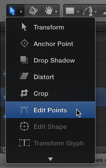 """Auswählen des Werkzeugs """"Punkte bearbeiten"""" aus dem Einblendmenü für die 2D-Transformationswerkzeuge"""