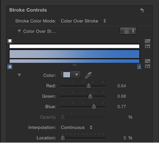"""Bereich """"Pinselstrich"""" mit erweitertem Verlaufseditor für den Parameter """"Farbe über der Linie""""."""