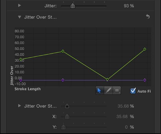 """Bereich """"Pinselstrich"""" mit dem Mini-Kurven-Editor für """"Flackern über der Linie"""" mit einer grünen Linie, die die Länge des Pinselstrichs darstellt."""