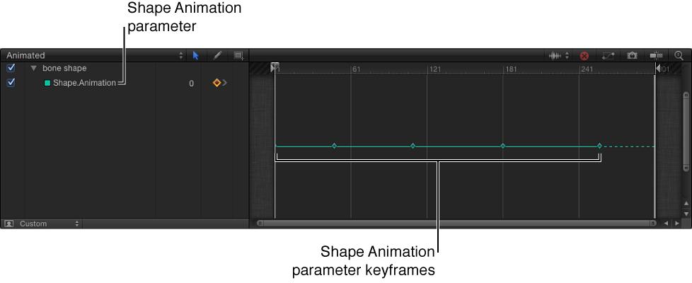 """Keyframe-Editor mit dem Parameter """"Animation einer Form""""."""