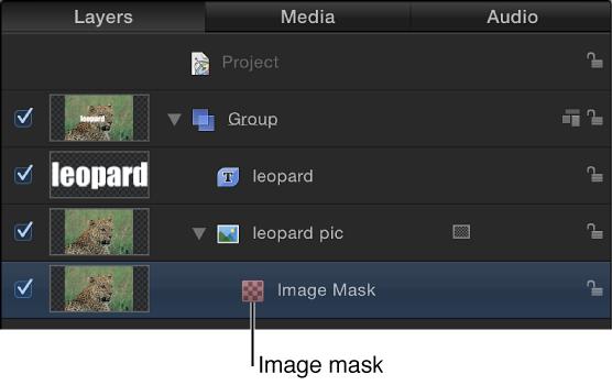 """Liste """"Ebenen"""" mit einem Objekt, auf das eine Bildmaske angewendet ist."""