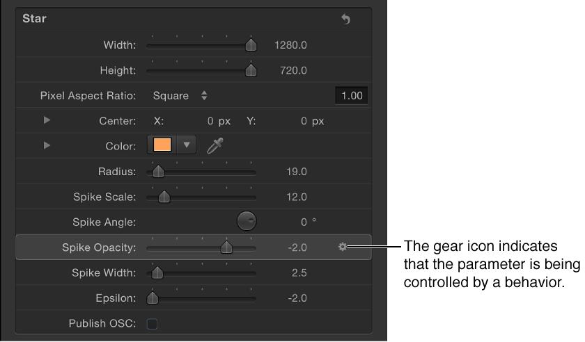 """Informationsfenster """"Generator"""" mit dem Symbol für ein Verhalten neben dem Parameter """"Deckkraft der Spitzen""""."""