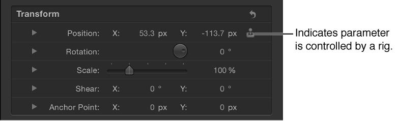 Informationsfenster mit einem durch ein Rig gesteuerten Parameter.