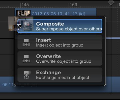 Drop-Palette mit Optionen in der Timeline