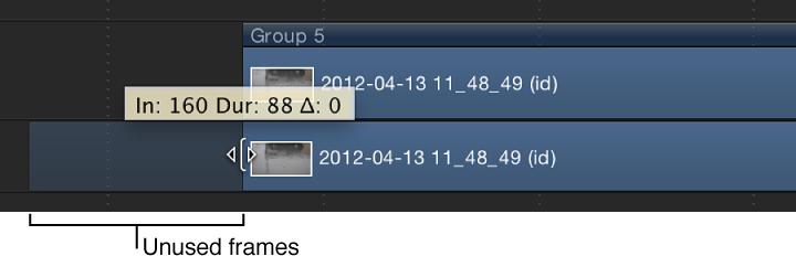 Timeline mit einem Objekt, das getrimmt wird, wobei nicht verwendete Bilder dargestellt werden.
