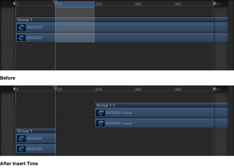 Timeline mit leerem Abschnitt, der in eine Sequenz eingefügt wird.