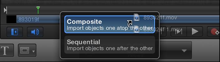 Mini-Timeline mit Drop-Optionen für mehrere ausgewählte Objekte.