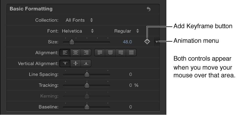 """Symbol im Animationsmenü für den Parameter """"Textgröße"""" im Informationsfenster."""
