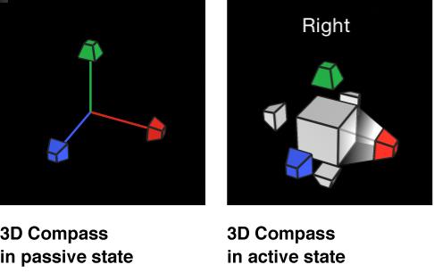 Canvas mit 3D-Kompass im aktiven und passiven Status.