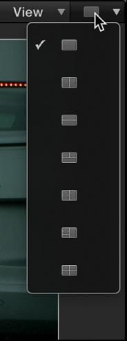 Canvas mit dem Einblendmenü zum Auswählen des Layouts für die Sichtfeldfenster.