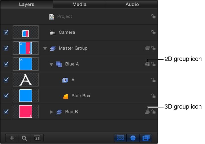 """Liste """"Ebenen"""" mit Symbolen für 2D- und 3D-Gruppen."""