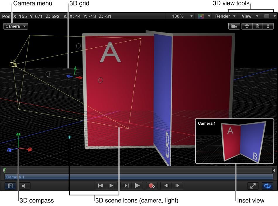 """Canvas mit 3D-Steuerelementen: Menü """"Kamera"""", Werkzeuge für die 3D-Darstellung, 3D-Szenensymbole, 3D-Gitter, 3D-Kompass und Inset-Darstellung."""
