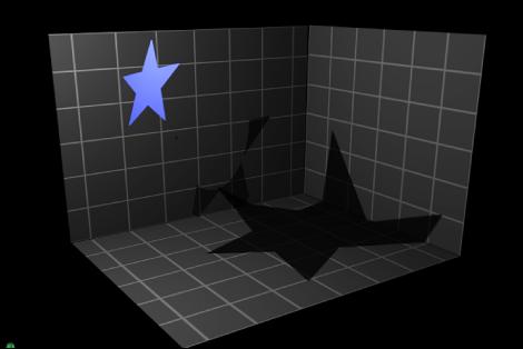 """Canvas mit einem Objekt, für das die Optionen """"Schatten empfangen"""" und """"Nur Schatten"""" aktiviert sind."""