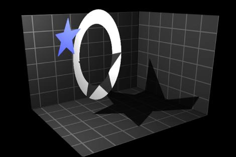 Canvas mit einem Objekt, auf das ein Schatten übertragen wird.
