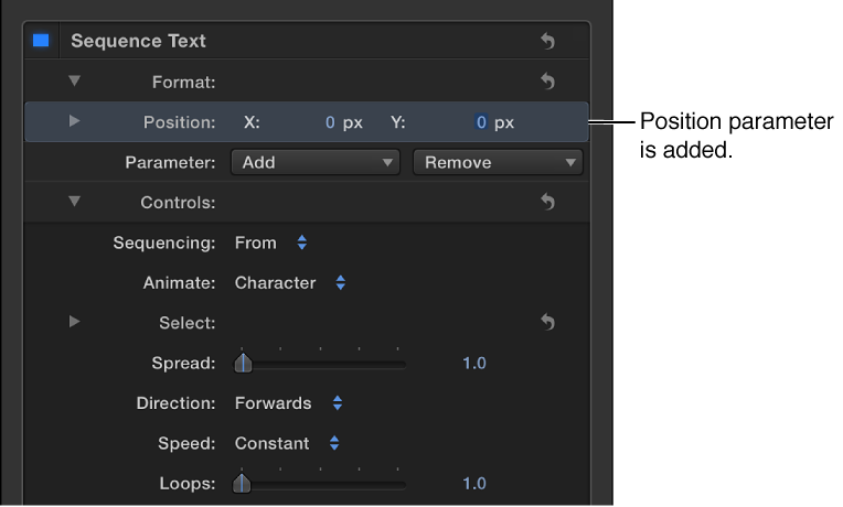 """Informationsfenster mit dem den Sequenztextparametern hinzugefügten Steuerelement """"Position""""."""