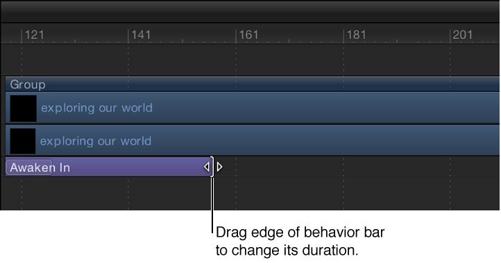 Timeline, in der ein Verhalten bewegt wird, um seine Dauer zu ändern.