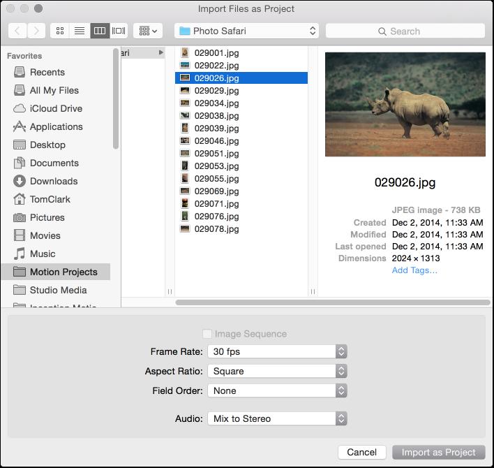 "Dialogfenster ""Dateien als Projekt importieren"""