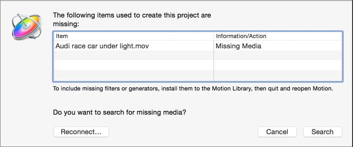 Dialogfenster mit Dateiliste der fehlenden Medien