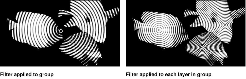 Canvas mit dem relativen Effekt eines Filters, der einmal auf eine Gruppe oder mehrmals auf jedes Einzelobjekt in der Gruppe angewendet wird