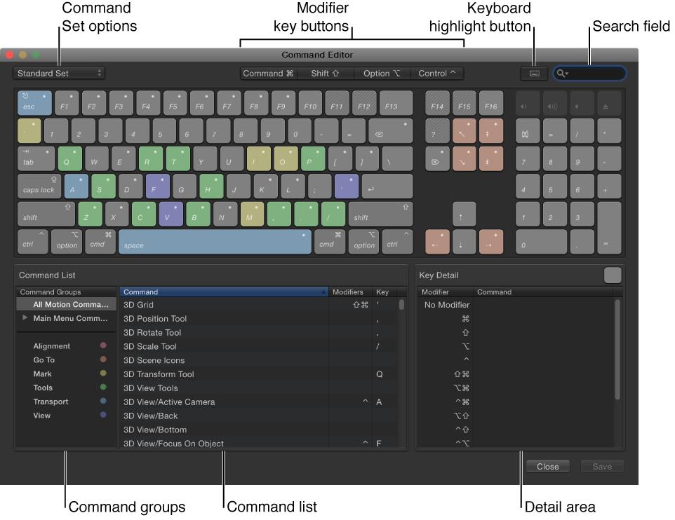 Befehl-Editor mit den Optionen für die Befehlskonfiguration, den Sondertasten, der Taste für die optische Hervorhebung, dem Suchfeld, den Befehlsgruppen, der Befehlsliste und dem Informationsfenster für die Tasten.