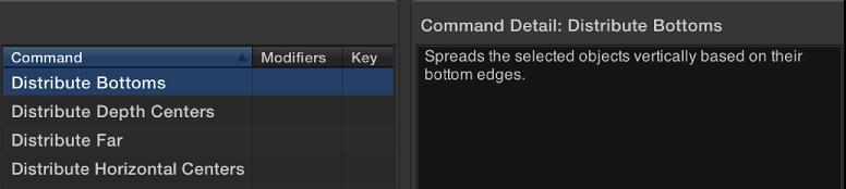 Befehl-Editor mit ausgewählten Befehl und einer kurzen Beschreibung.